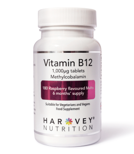 Vitamin B12 Raspberry Melts 1000mcg – 180 Tablets